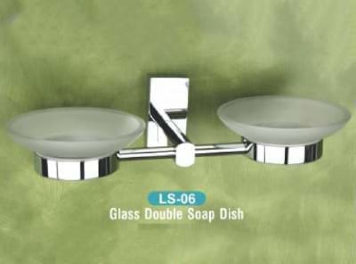 Glass Double Soap Dish LS - 06