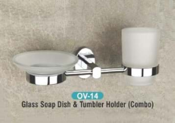 Glass Soap Dish & Tumbler Holder Combo OV - 14