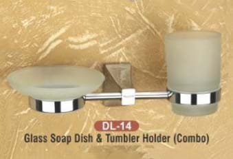 Glass Soap Dish & Tumbler Holder Combo DL - 14