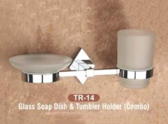 Glass Soap Dish & Tumbler Holder Combo TR - 14