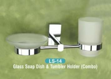 Glass Soap Dish & Tumbler Holder Combo LS - 14